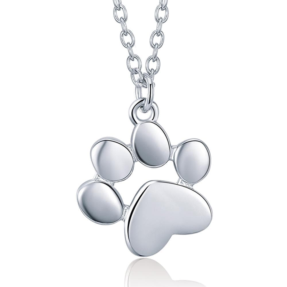 Solid 925 Sterling Silver Baby Animal Pet Paw Print Necklace White Gold - Brilliant Co
