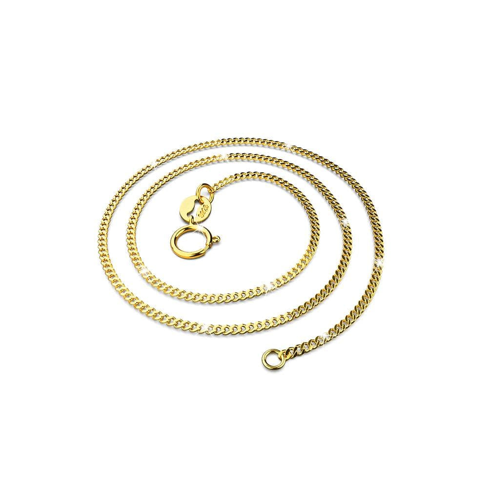 Solid 925 Sterling Silver Curb Chain Chain Necklace in Gold Layered - Brilliant Co