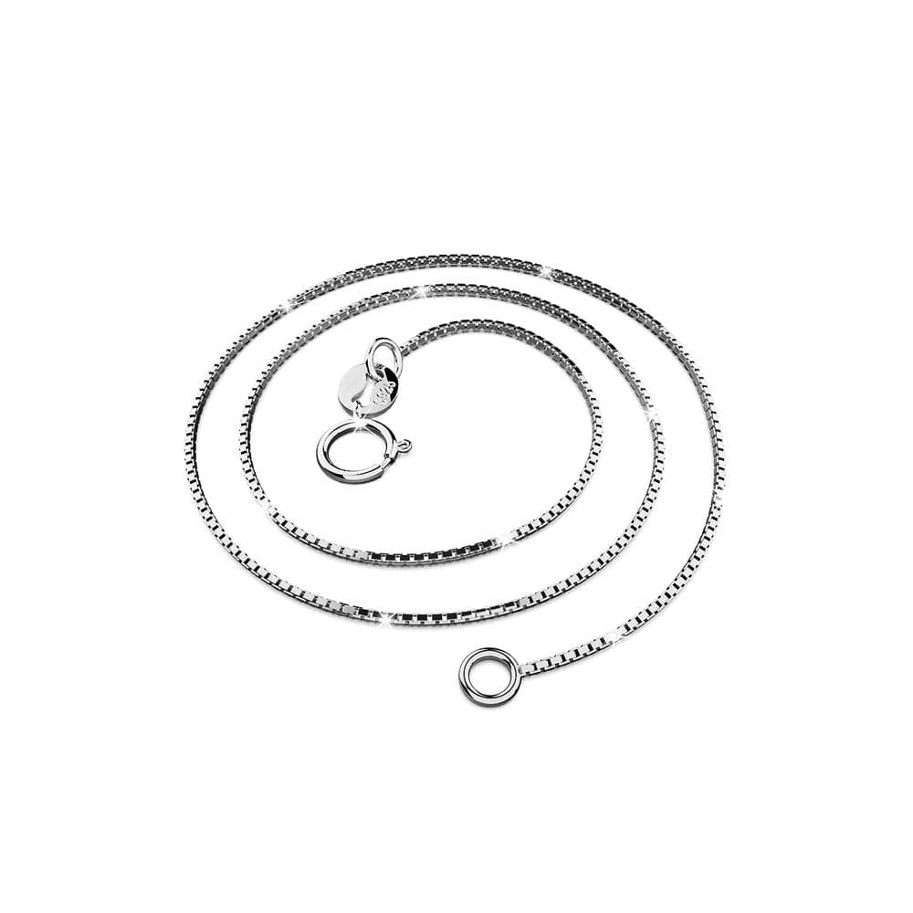Solid 925 Sterling Silver Box Chain Necklace in White Gold Layered - Brilliant Co