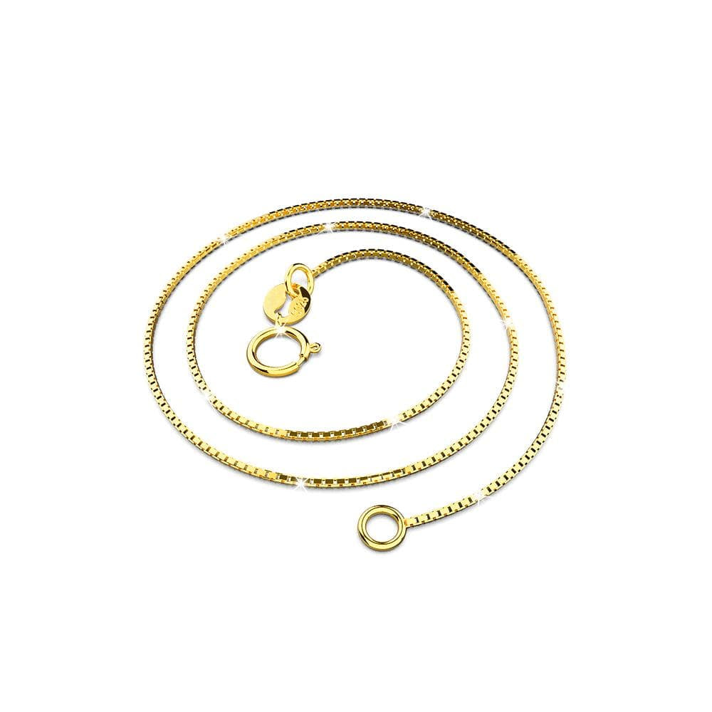 Solid 925 Sterling Silver Box Chain Necklace in Gold Layered - Brilliant Co