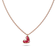 Load image into Gallery viewer, Solid 925 Sterling Silver Bright Red Corundum Crystals Heart-Shaped Pendant Necklace - Brilliant Co