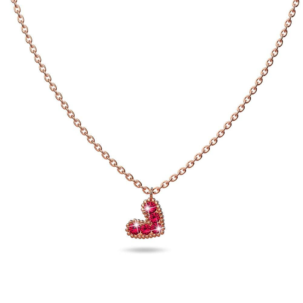 Solid 925 Sterling Silver Bright Red Corundum Crystals Heart-Shaped Pendant Necklace - Brilliant Co