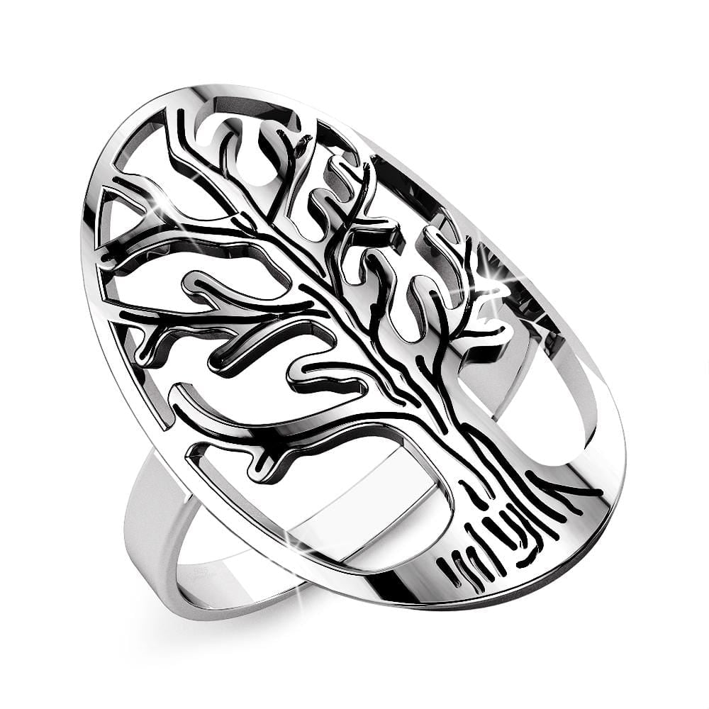 Solid 925 Sterling Silver Tree of Life Ring - Brilliant Co
