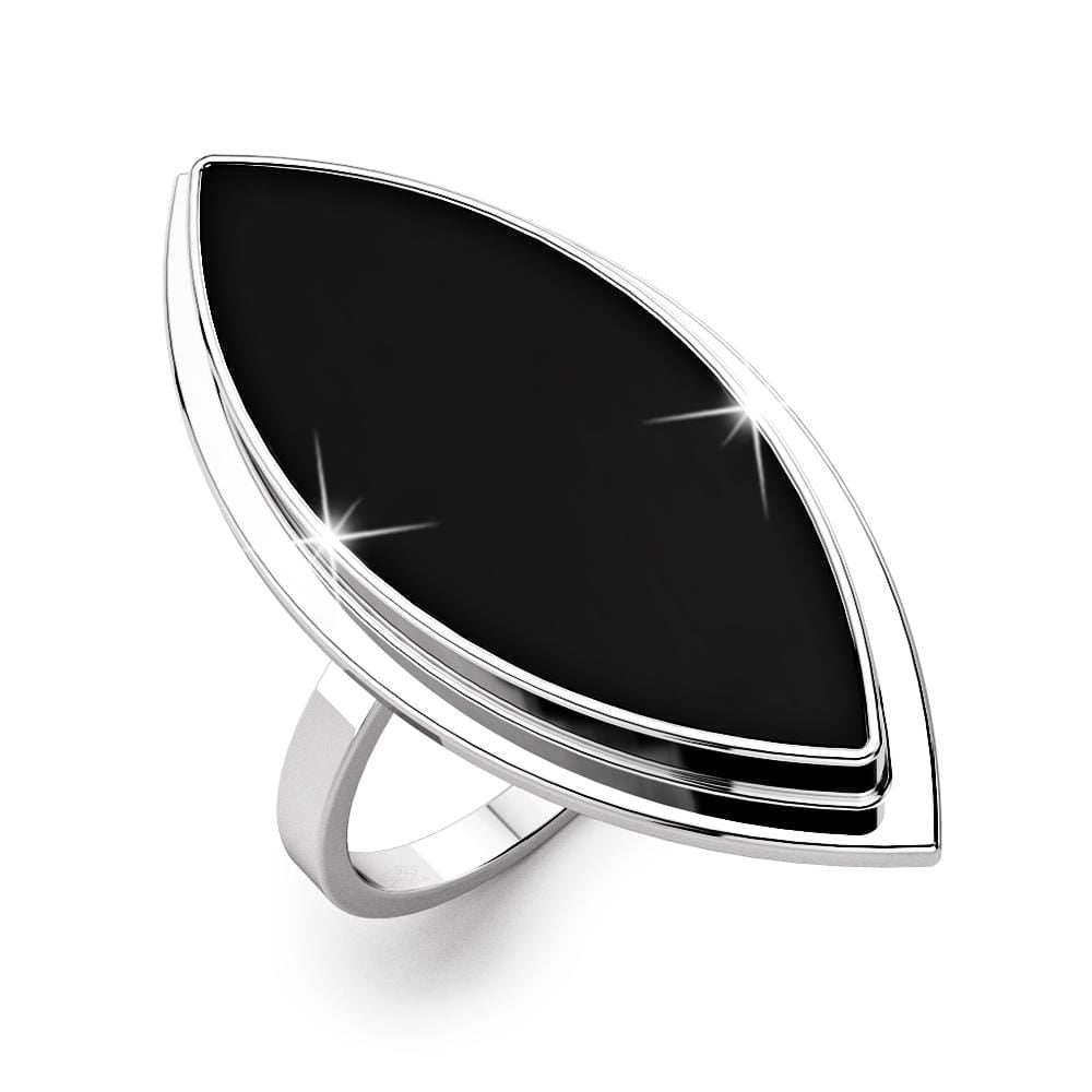 Solid 925 Sterling Silver Handmade Black Agate Ring - Brilliant Co
