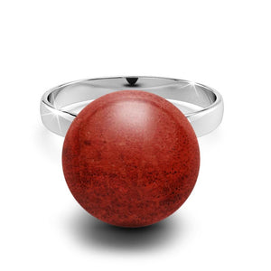 Solid 925 Sterling Silver Tint of Coral Red Ring
