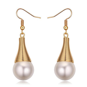 Cleopatra Earrings Embellished with Swarovski Crystal Pearls