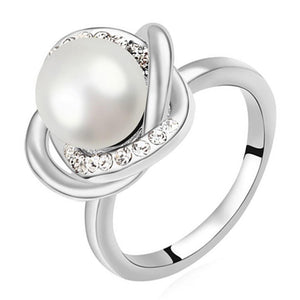 Pearl & Crystal Ring | White Ft Crystals From Swarovski