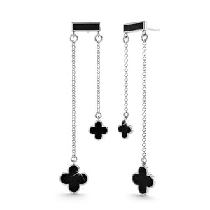 Fancy Clover Bloom Earrings in Black - Brilliant Co