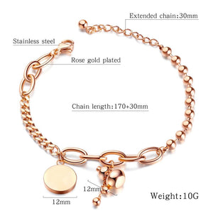 Rheeya Circle Charm Ball Chain Rose Gold Layered Bracelet - Brilliant Co