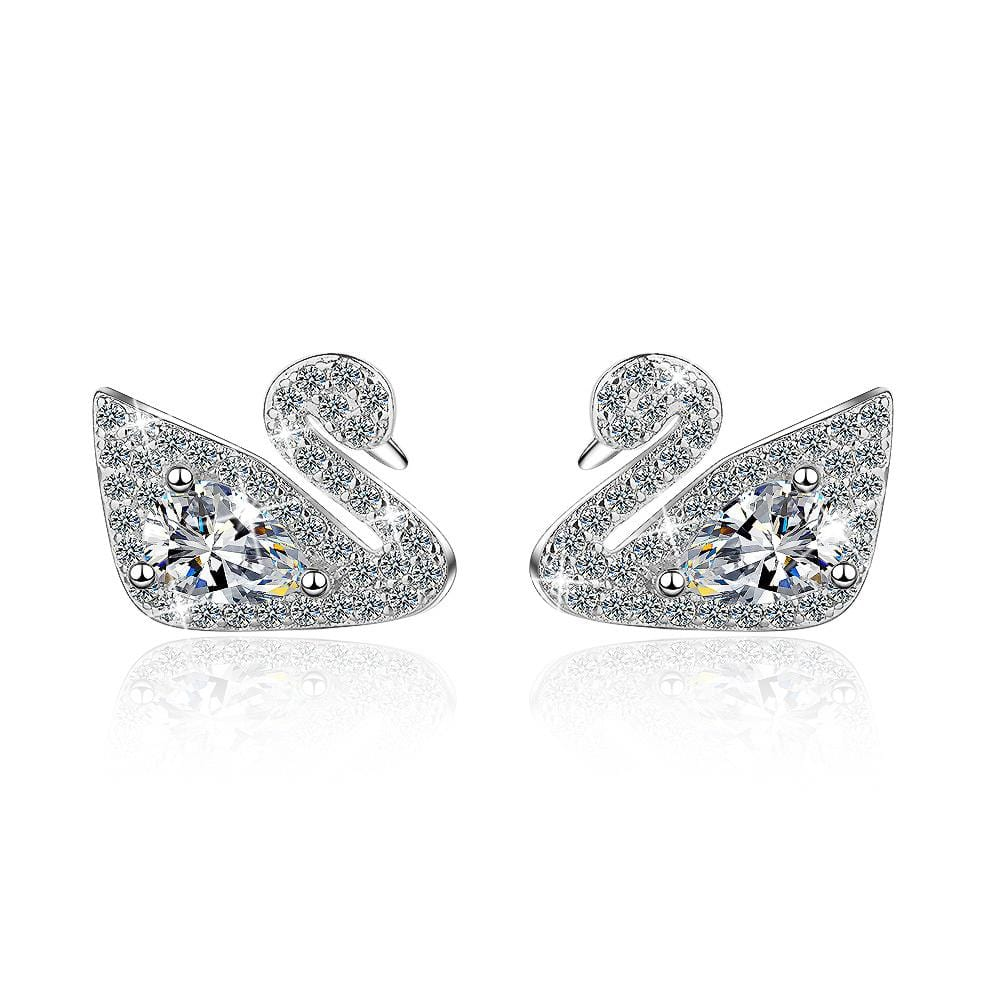 Classic White Swan Dazzle Earrings - Brilliant Co