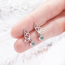Butterfly Wings with Sparkling Zirconias Drop Earrings