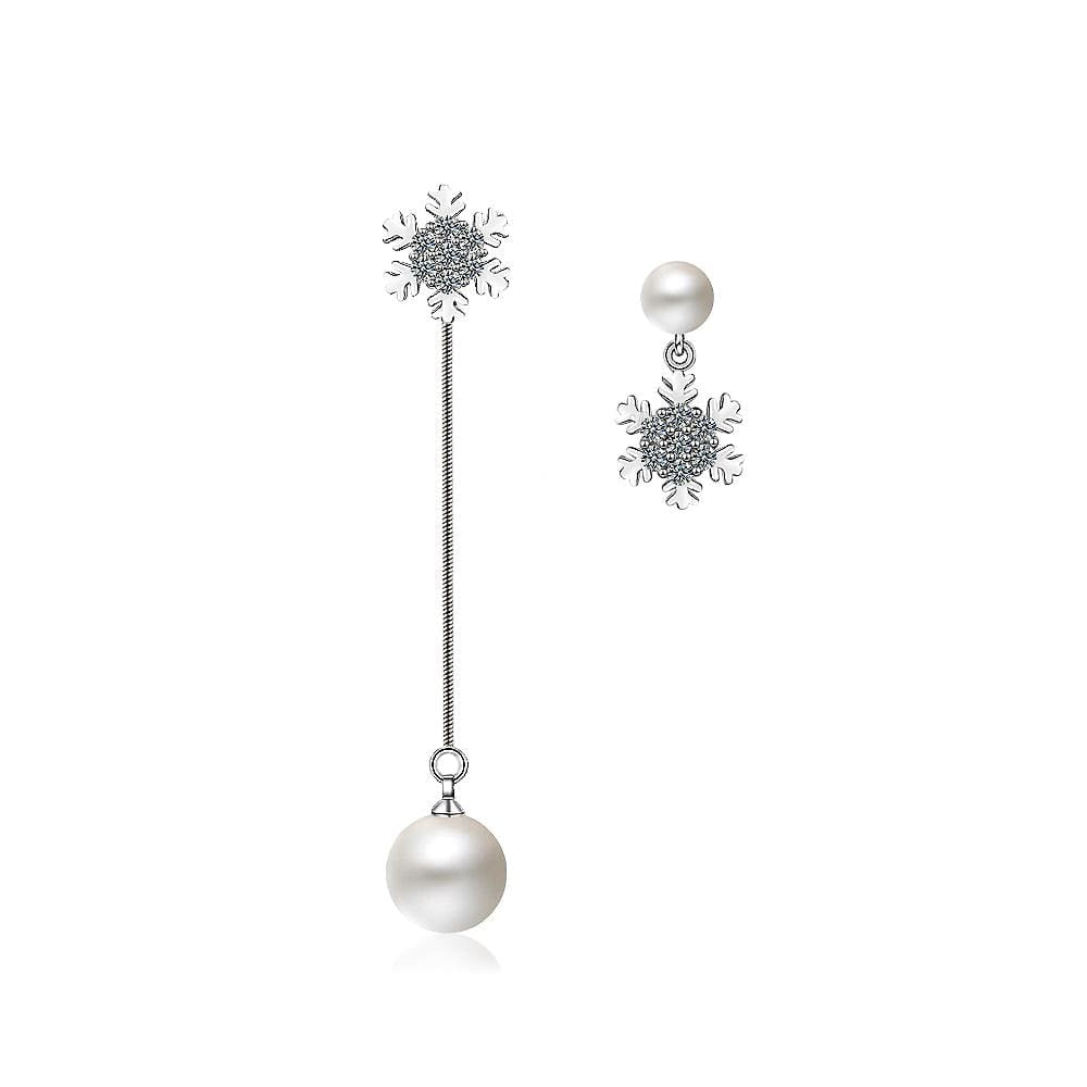 Sparkling Zirconias Snow with White Pearl Drop Earrings - Brilliant Co