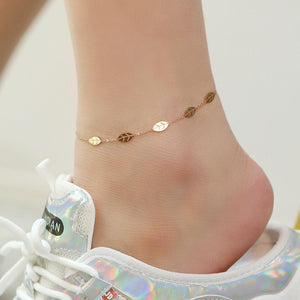Falling Leaves Chain Anklet in Rose Gold Layered Steel Jewellery