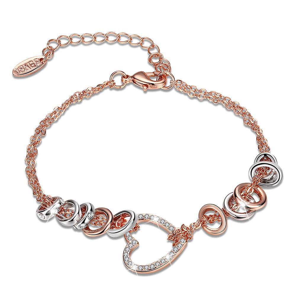 Lovely Hearts Zircon Embellished Two Tone Gold Layered Charm Bracelet - Brilliant Co