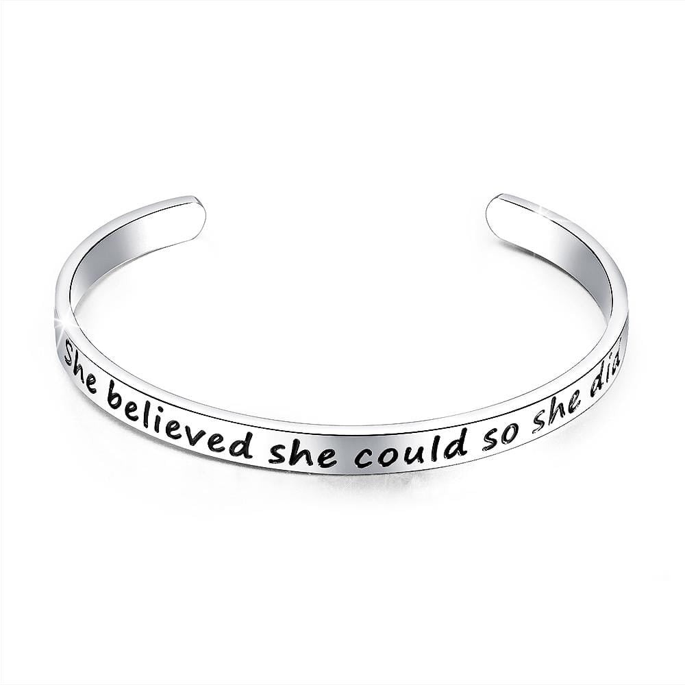 Inspirational Inscription Cuff Bangle in White Gold Layered Steel Jewellery - Brilliant Co