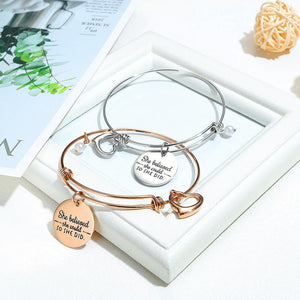 She Believed She Could Heart Charm Rose Gold Layered Tubular Adjustable Inspirational Bangle - Brilliant Co