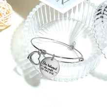 She Believed She Could Heart Charm White Gold Layered Tubular Adjustable Inspirational Bangle - Brilliant Co