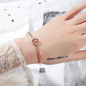Single Knotted Tie Promise Open Cuff Bangle in Rose Gold Layered Steel Jewellery - Brilliant Co