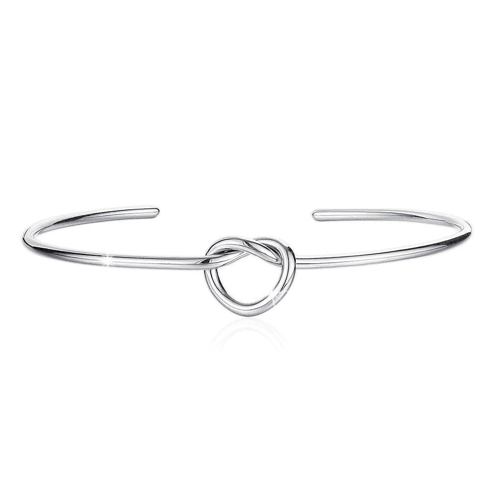Single Knotted Tie Promise Open Cuff Bangle in White Gold Layered Steel Jewellery - Brilliant Co
