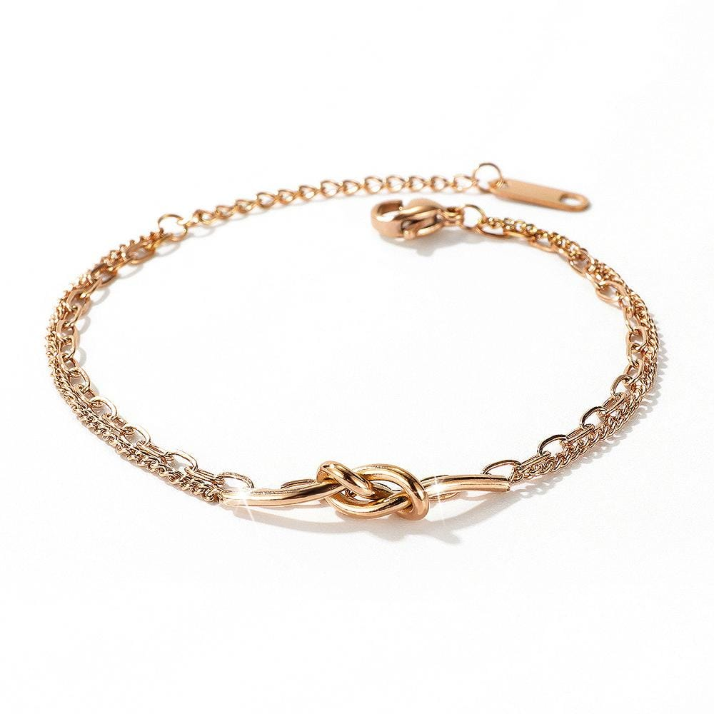 Figure Eight Knot Chain Bracelet in Rose Gold Layered Steel Jewellery - Brilliant Co