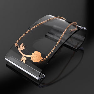 One Piece Rose Bracelet in Rose Gold Layered Steel Jewellery - Brilliant Co