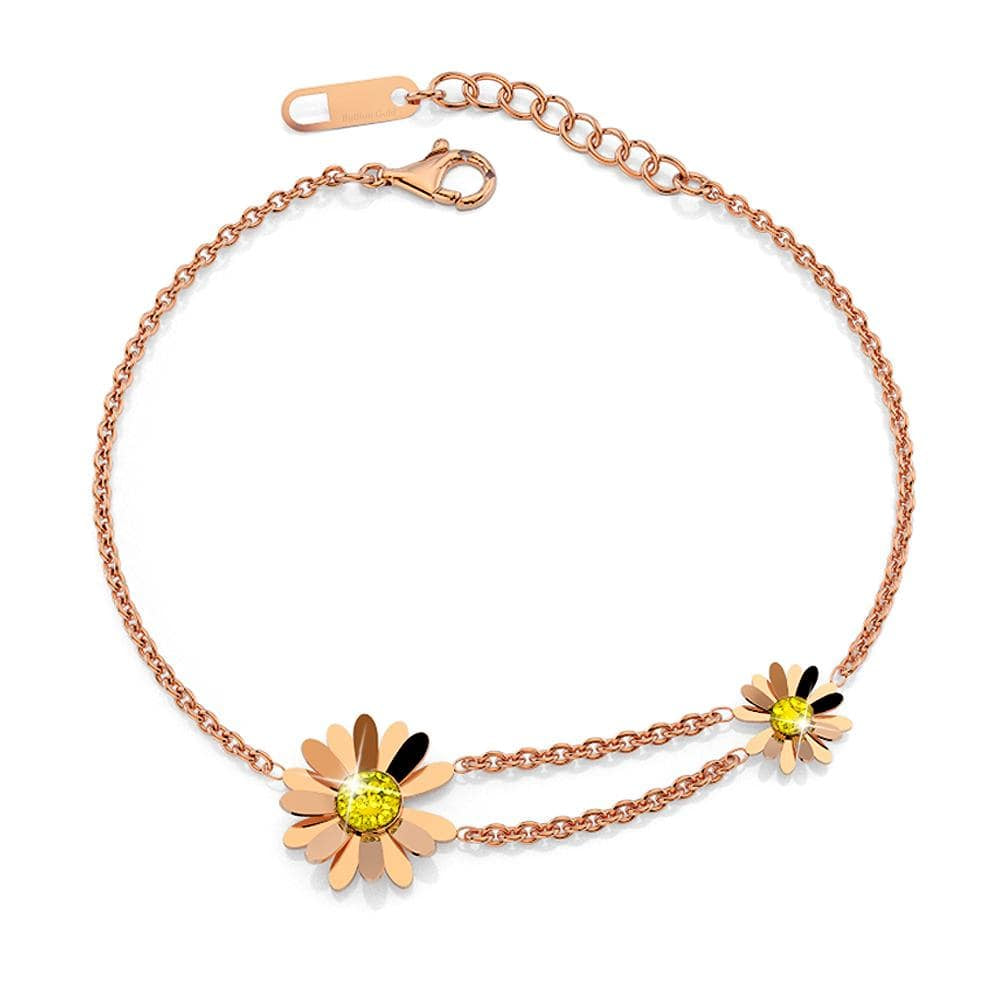 Sunshine Daisy Pendent Bracelet in Rose Gold Layered Steel Jewellery - Brilliant Co
