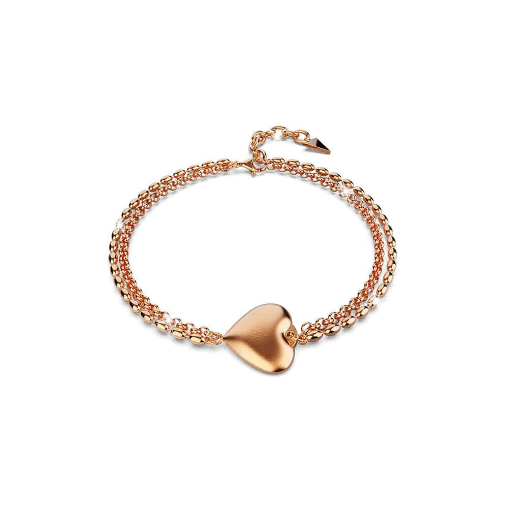 Heart-Shaped Charm Bracelet in Rose Gold Layered Titanium Steel - Brilliant Co