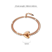 Load image into Gallery viewer, Heart-Shaped Charm Bracelet in Rose Gold Layered Titanium Steel - Brilliant Co