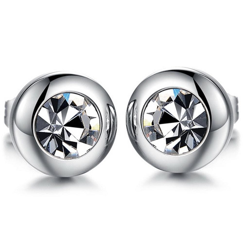 Classical Bezel Stud Earrings - Brilliant Co