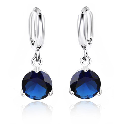 Deep Blue Round Crystal Drop Earrings