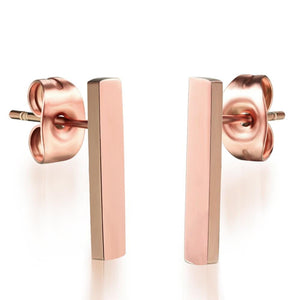 Solid Shapes Stud Earrings Vertical Slim Bar - Brilliant Co