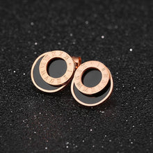 Modern Geometric Style Stud Earrings Circles Rose Gold - Brilliant Co