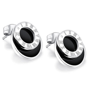 Modern Geometric Style Stud Earrings Circles White Gold - Brilliant Co