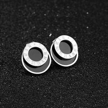 Load image into Gallery viewer, Modern Geometric Style Stud Earrings Circles White Gold - Brilliant Co
