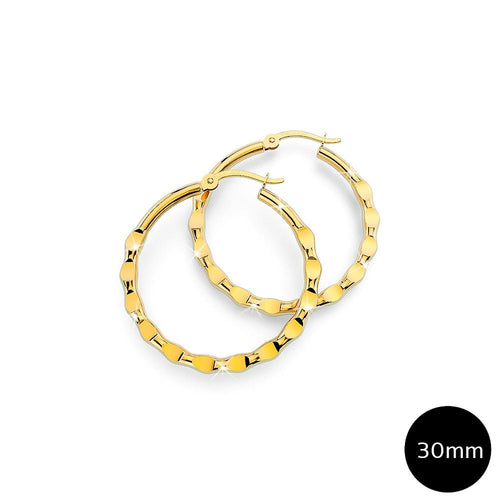 Fem Hammered Hoop Earrings 30mm