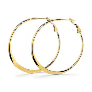 Semi Flattened Hoop Earrings 40mm