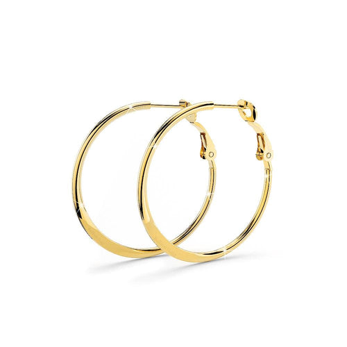 Semi Flattened Hoop Earrings 30mm
