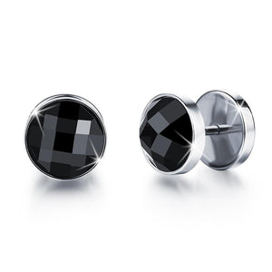 Onyx Steel Button Stud Earrings