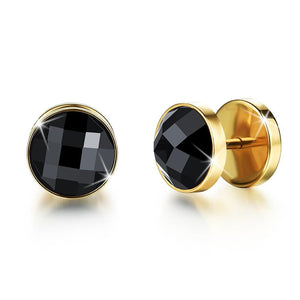 Onyx Gold Button Stud Earrings