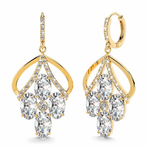 Blossom Sparkling Zirconia Flower Dangle Earrings