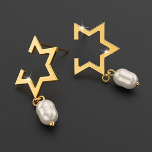 Starry Pearl Drop Earrings in Gold - Brilliant Co