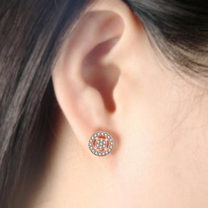 Shiny Created Diamonds Halo Rose Gold Layered Stud Earrings - Brilliant Co