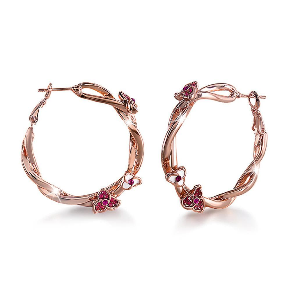 Exotic Wild Floral Hoop Rose Gold Layered Earrings - Brilliant Co