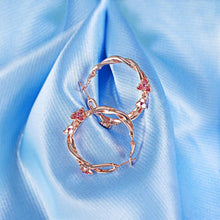 Load image into Gallery viewer, Exotic Wild Floral Hoop Rose Gold Layered Earrings - Brilliant Co
