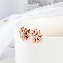 Morning Daisy with Created Diamonds Stud Earrings in Rose Gold Layered Steel Jewellery - Brilliant Co