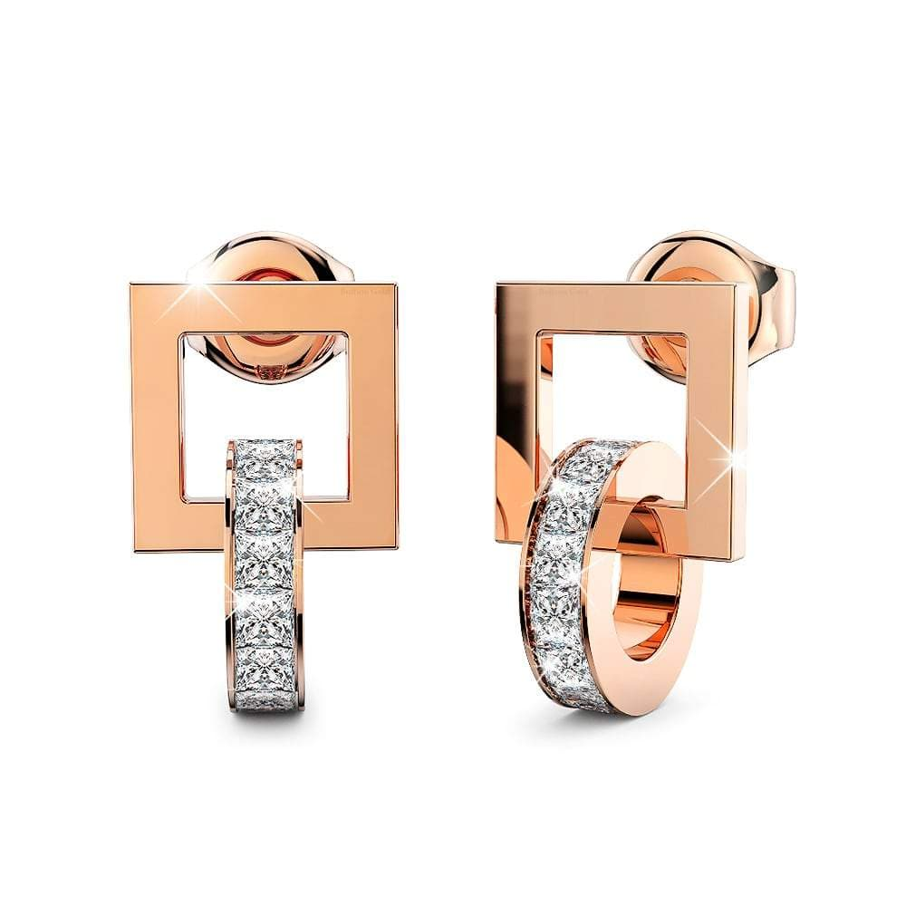 Rolling CZ Stud Earrings in Rose Gold Layered Steel Jewellery - Brilliant Co