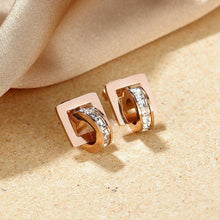 Load image into Gallery viewer, Rolling CZ Stud Earrings in Rose Gold Layered Steel Jewellery - Brilliant Co