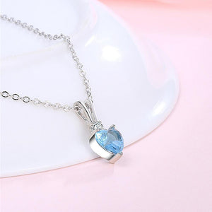 My Amore Blue Love Heart Pendant White Gold Layered Necklace - Brilliant Co