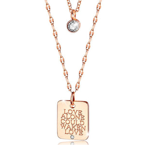 Multilayer 2 piece Necklace Love Awaken Engraved Pendent Rose Gold Layered Steel Jewellery - Brilliant Co