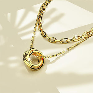 Multilayer 2 piece Swirl Pendent Necklace in Gold Layered Steel Jewellery - Brilliant Co
